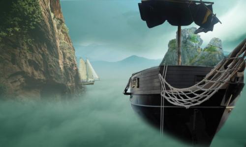 bateau navigant sur nuages